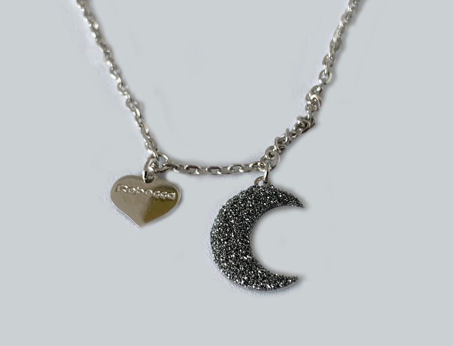 Rebecca Sterling Silver Necklace Moon and Diamond Dust