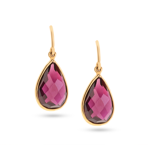 Rhodolite Garnet Simple Pear Dangle Earrings in 18K