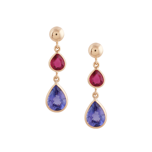 Tanzanite & Pink Tourmaline Earring in 18k