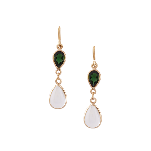 Tsavorite & Rainbow Moonstone Pear Shaped Earring in 18k Yellow Gold