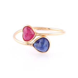 Ruby Heart Shaped & Blue Sapphire Pear Shaped Ring in 18k Yellow Gold