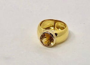 Yellow Citrine Ring in 18 Karat yellow Gold