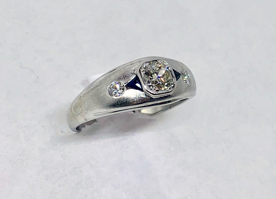 Platinum Diamond Ring Sapphires