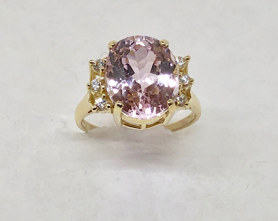 Pink Morganite CZ and White Sapphires 14 Karay Yellow Ring