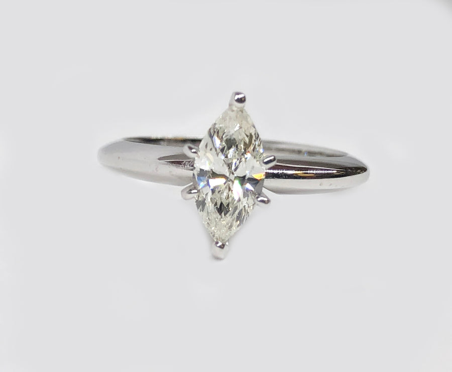 Marquise Diamond Engagement Ring 14 Karat White Gold
