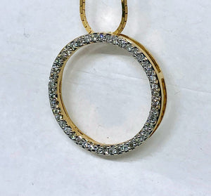 Circle Diamond Pendant 14 Karat Yellow Gold