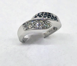 White and Black Diamonds Ring 14 Karat