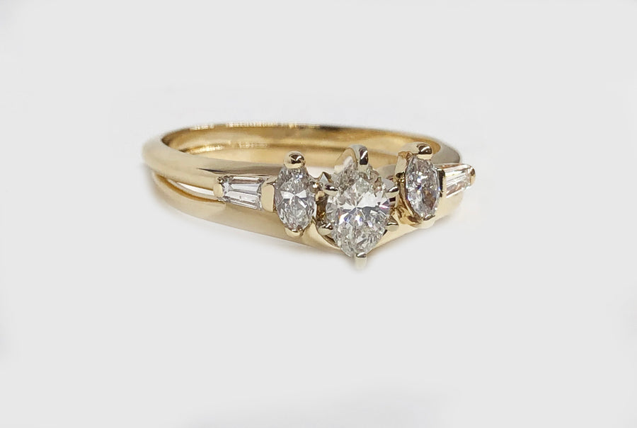 Marquise Diamond Engagement Ring With Insert