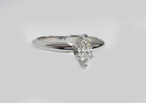 Marquise Solitaire Diamond Ring 14Karat White Gold