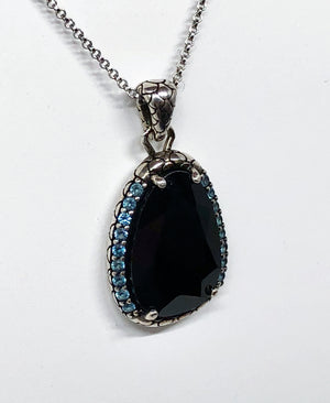 Black Spinel Blue Topaz Sterling Silver Pendant