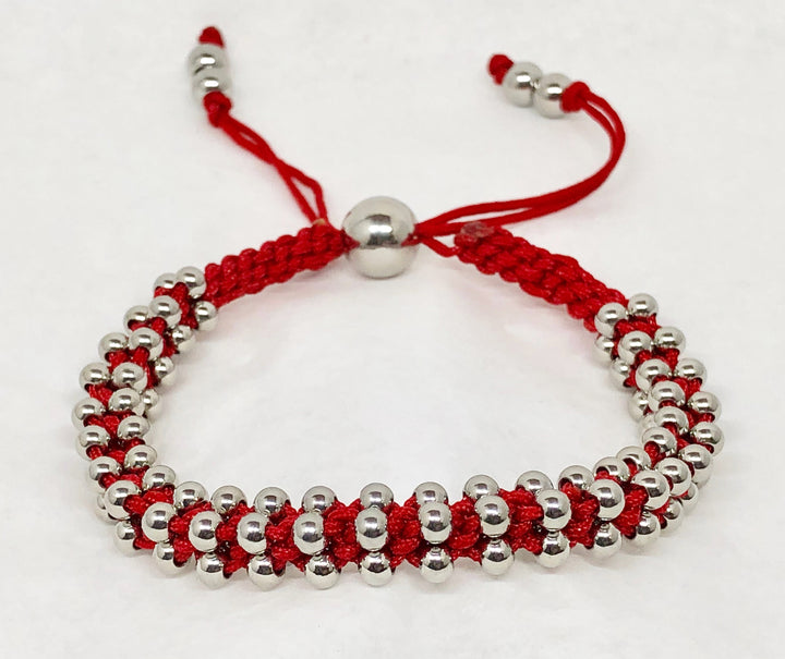 Stainless Steel Bracelet Red Cord