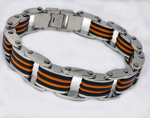 Stainless Steel Rubber Cool Bracelet Mens