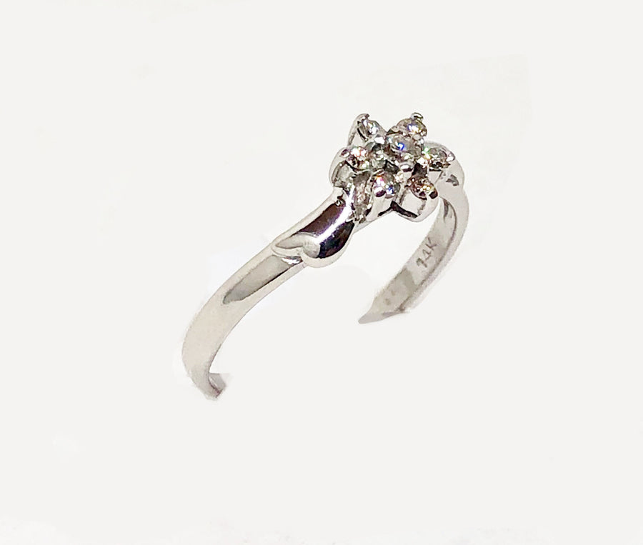 Flower Design Diamond Ring 14 Karat White Gold