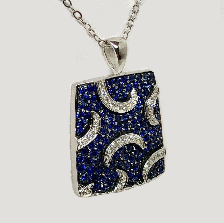 Sapphire and Diamond Pendant 18 Karat White Gold