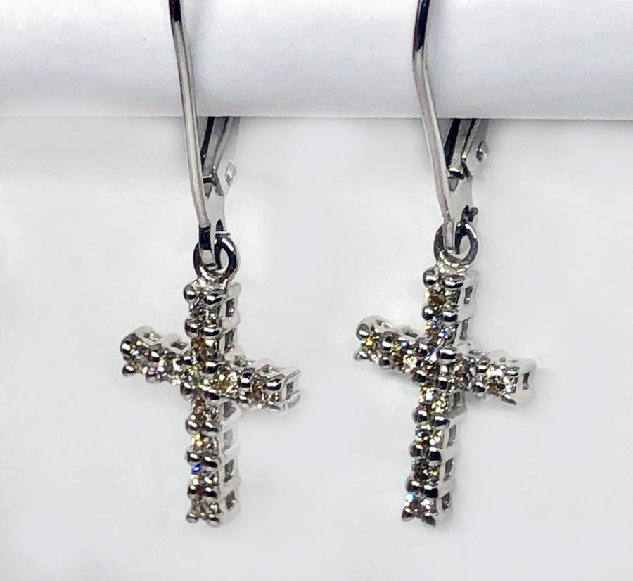 Diamond Dangle 14 Karat White Gold Earrings