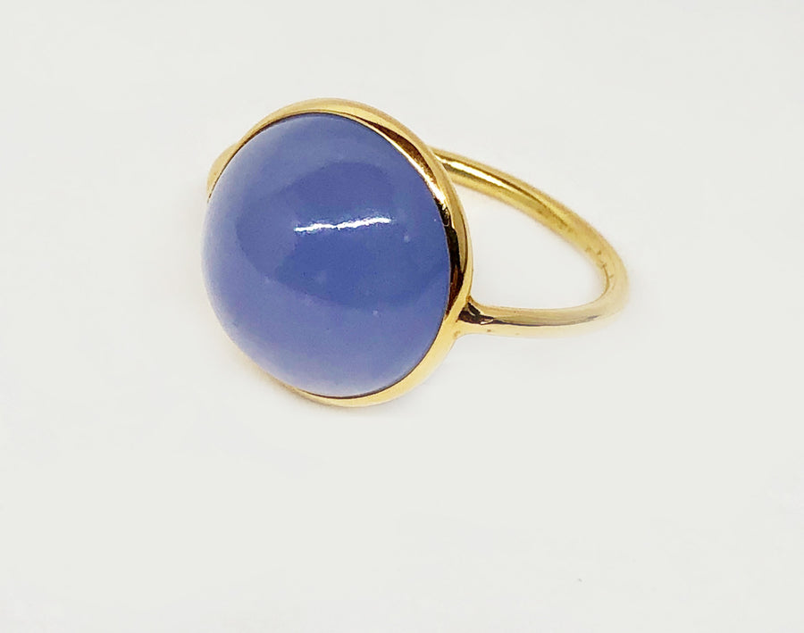 Blue Calcedony Ring 18 Karat Ring