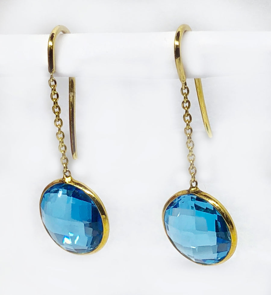 Dangle Blue Topaz Earrings 18 Karat Yellow Gold