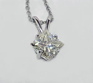 Princess Cut Diamond Pendant 14 Karat White Gold
