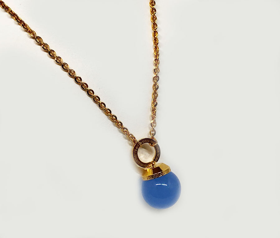 Blue Stone Bead in Bronze Rebecca Necklace 30""