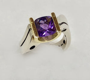 Custom Made Amethyst Ring 18Karat and Sterling Silver