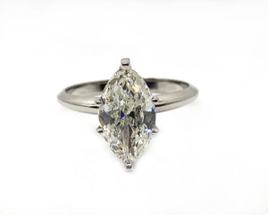Solitaire Marquis Diamond Ring 14 Karat Gold