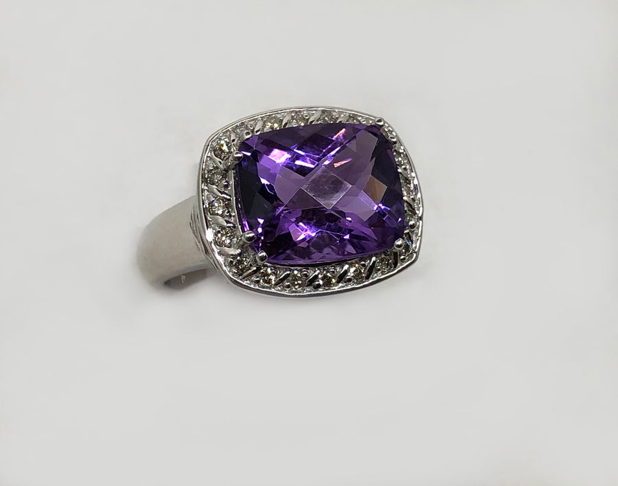 Amethyst And Diamond Ring in 14 Karat White Gold