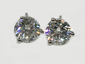 Natural Mined Diamond Studs 2.54 Carats total weight