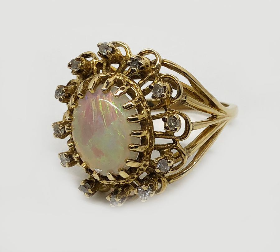Large Opal and Diamond Cluster Ring 14 Karat Yellow Gold