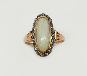 Antique Opal And Diamond Ring 10 Karat Yellow Gold