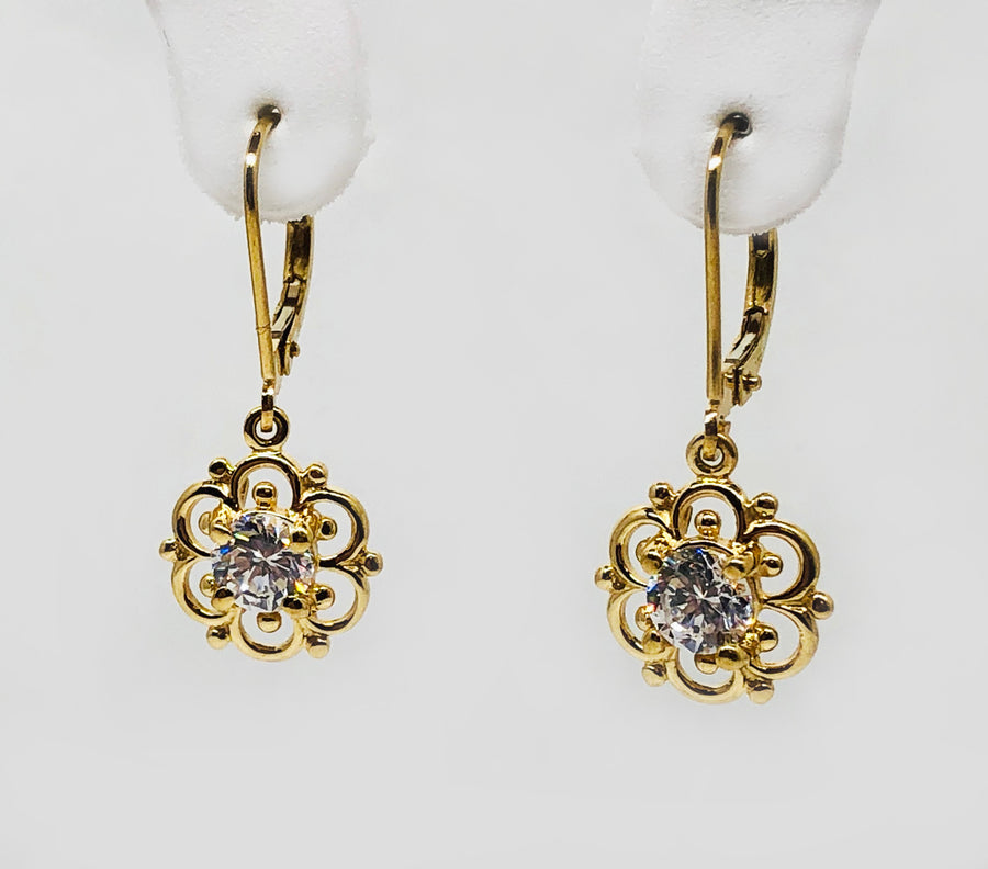 Gold Dangle Filigree Earrings Cubic Zirconia