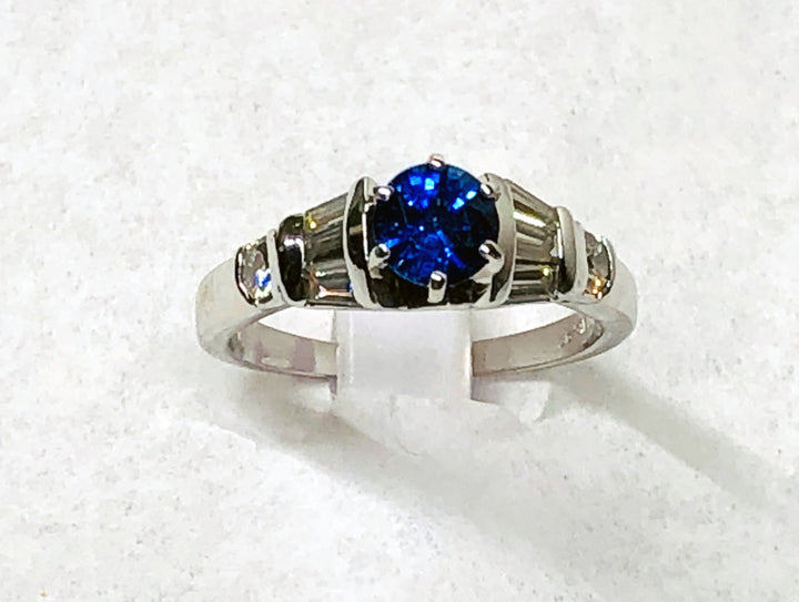 Sapphire and Diamond Ring 14 Karat White Gold