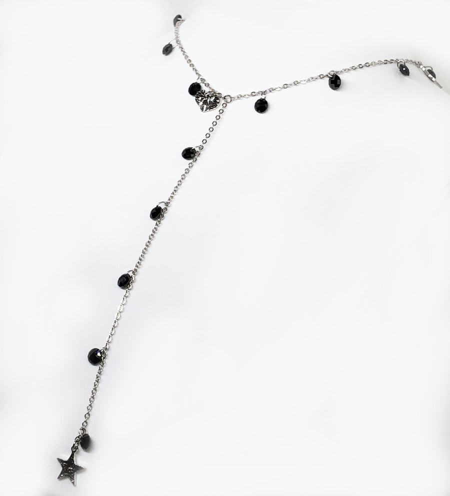 Stars And Moon Necklace Natural Beads Sterling Silver