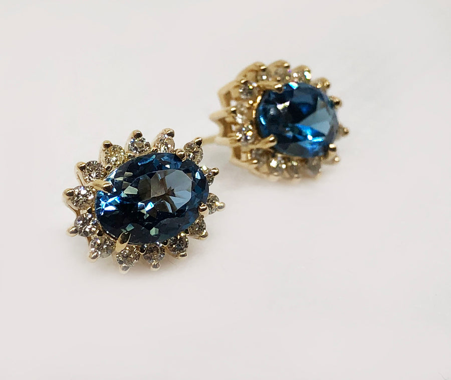 Blue Topaz And Diamond Earrings 14 Karat Yellow Gold