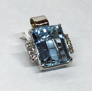 Blue Topaz and Diamond Custom Made Pendant in 14 Karat White Gold