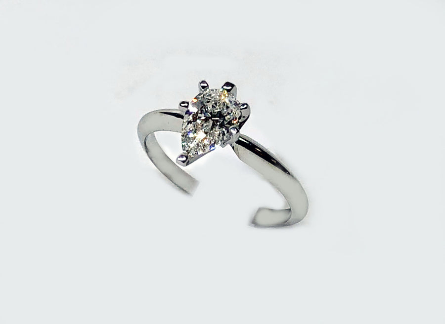 Solitaire Pear Shape Diamond Tiffany Setting 14 Karat White Gold