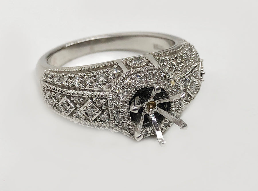 Milgrain Diamond Ring .75Ct Diamonds 14Karat White Gold