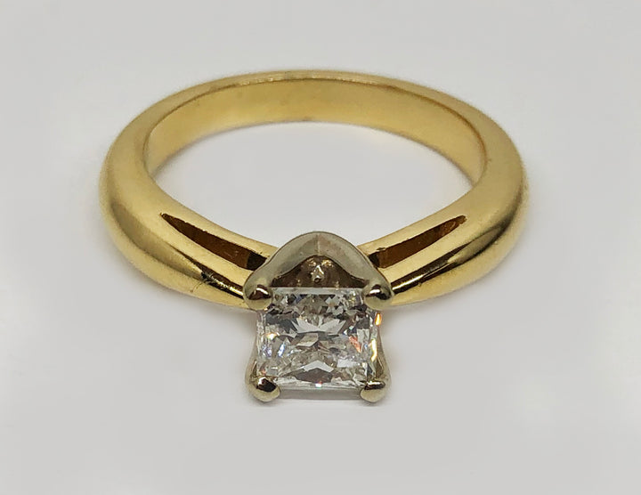 Solitaire Princess Cut Diamond 14Karat Yellow Gold