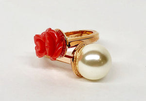 Rebecca Pearl and Rose Ring 18K Plated
