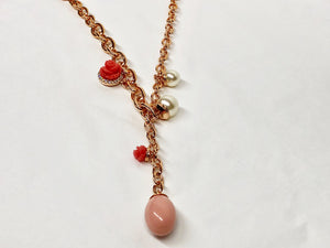 Rebecca Necklace 18K Plated with Rose Pearl and Coral
