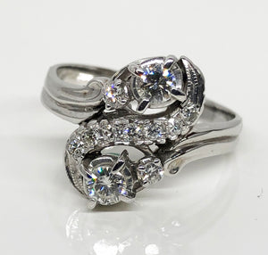 Estate White Gold Diamond Ring 14 Karat White Gold