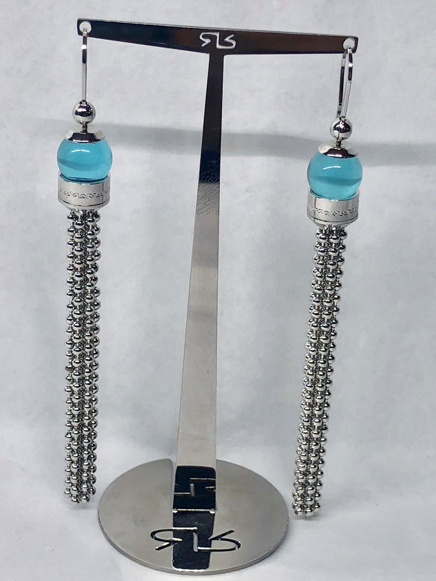 Rebecca Aqua Dangle Earrings 18 Karat White Gold Plating