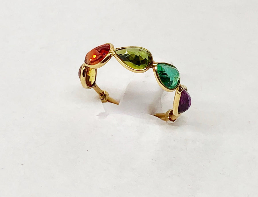 Ruby Sapphire Emerald Ring 18 Karat Yellow Gold Expandable