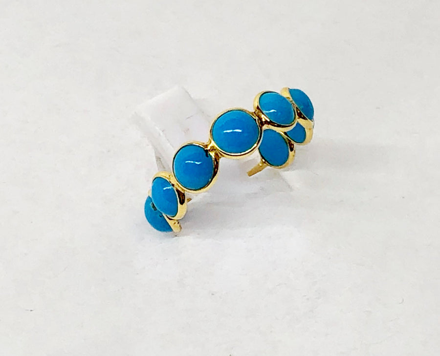 Turquois Ring 18 Karat Yellow Gold Expandable