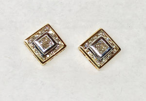 Diamond Earrings princess Cut 14 Karat Yellow Gold Square