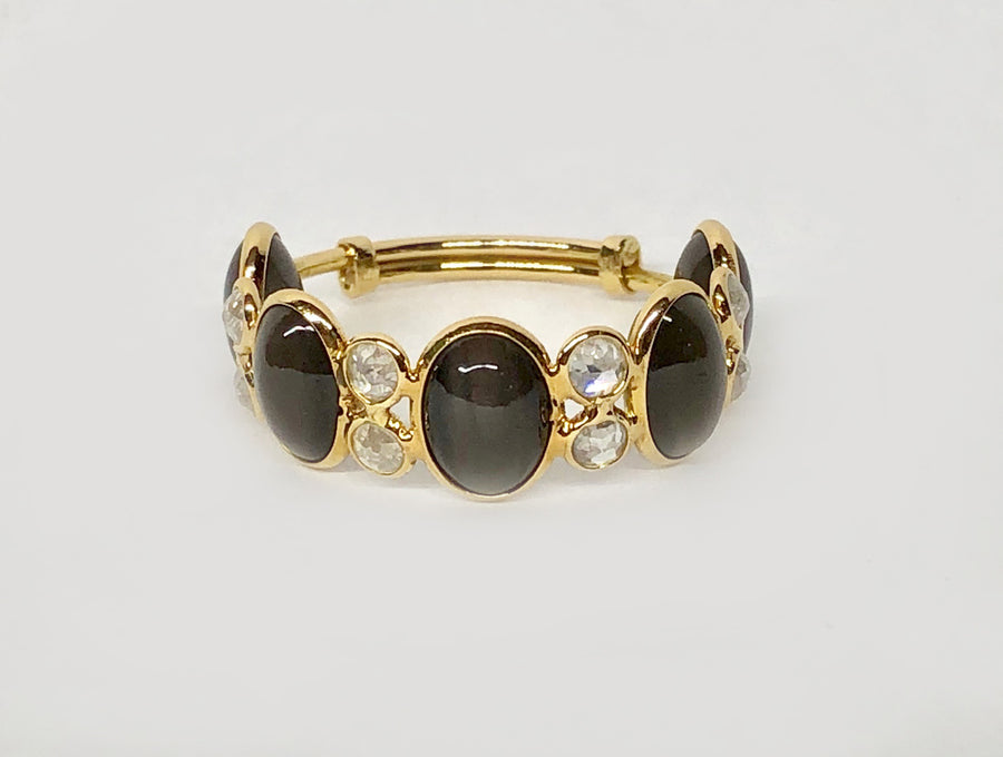 Black Spinel Ring with Diamonds in 18 Karat Yellow Gold
