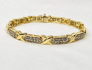 Diamond Bracelet 2.5 Carats 14 Karat Yellow Gold Hug & Kisses