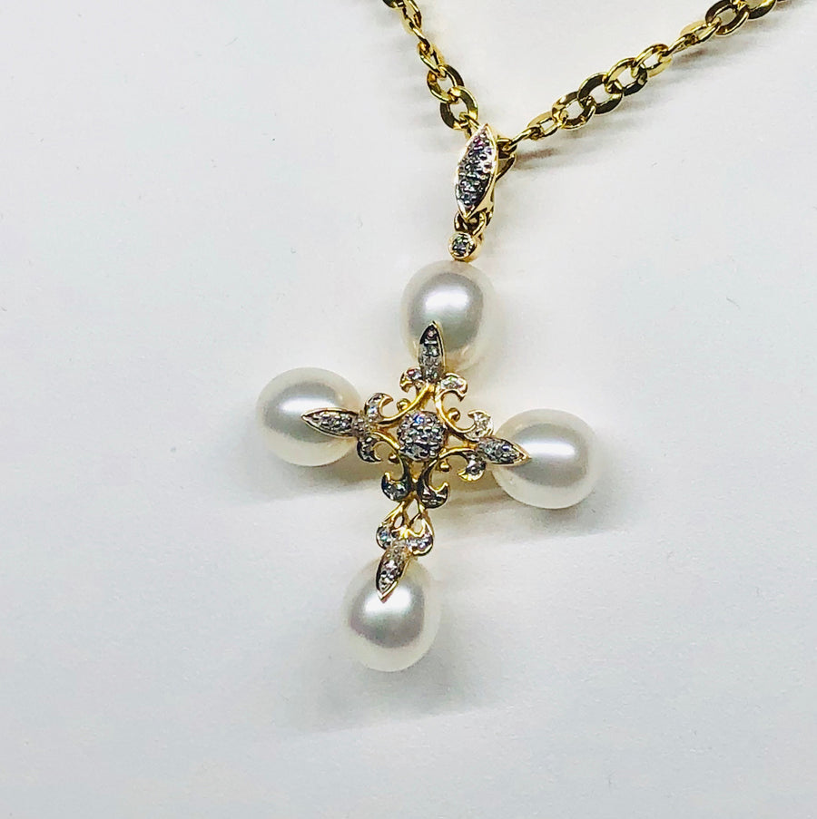 Pearl Cross With Diamonds 14 Karat Yellow Gold