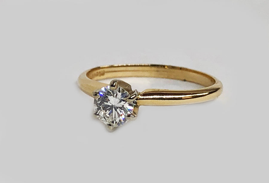 Engagement Diamond Ring 14 Karat Yellow Gold