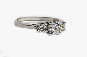Three Stone Diamond Ring 14 Karat White Gold