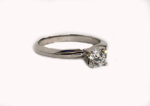 Engagement Solitaire Diamond Ring 14K White Gold